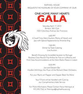 Raphael House Gala Invite 2010
